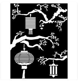 Stamperia Mixed Media Stencil cm 15x20 - Sir Vagabond in Japan lanterns