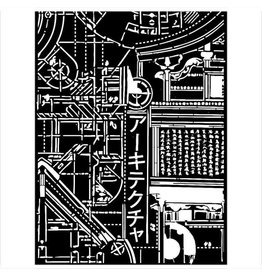 Stamperia Mixed Media Stencil cm 15x20 - Sir Vagabond in Japan texture mechanism