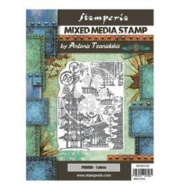Stamperia Mixed Media Stamp cm 15x20 - Sir Vagabond in Japan pagoda
