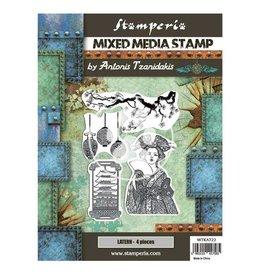Stamperia Mixed Media Stamp cm 15x20 - Sir Vagabond in Japan lantern