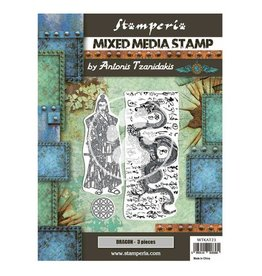 Stamperia Mixed Media Stamp cm 15x20 - Sir Vagabond in Japan dragon