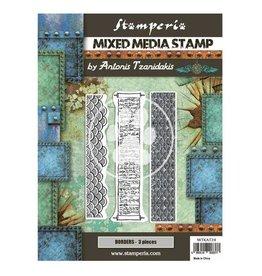 Stamperia Mixed Media Stamp cm 15x20 - Sir Vagabond in Japan borders