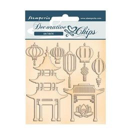 Stamperia Decorative chips cm 14x14 - Sir Vagabond in Japan pagoda and lamps