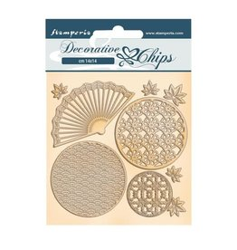 Stamperia Decorative chips cm 14x14 - Sir Vagabond in Japan fan and circles