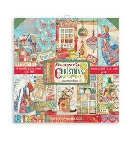 """Stamperia Scrapbooking Small Pad 10 sheets cm 20,3X20,3 (8""""X8"""") - Christmas Patchwork"""