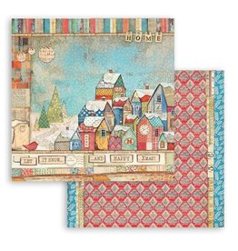 Stamperia Scrapbooking Double face sheet - Christmas Patchwork houses