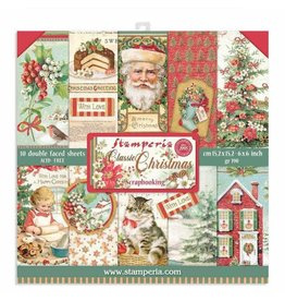 """Stamperia Scrapbooking Extra small Pad 10 sheets cm 15,24x15,24 (6""""x6"""") - Classic Christmas"""