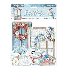 Stamperia Die cuts assorted - Winter Tales quotes and labels