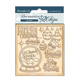 Stamperia Decorative chips cm 14x14 - Christmas rose