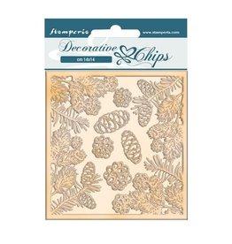 Stamperia Decorative chips cm 14x14 - Romantic Christmas pinecones