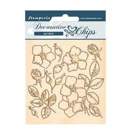 Stamperia Decorative chips cm 14x14 - Romantic Christmas flowers