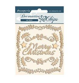 Stamperia Decorative chips cm 14x14 - Pink Christmas frames