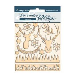 Stamperia Decorative chips cm 14x14 - Pink Christmas deer