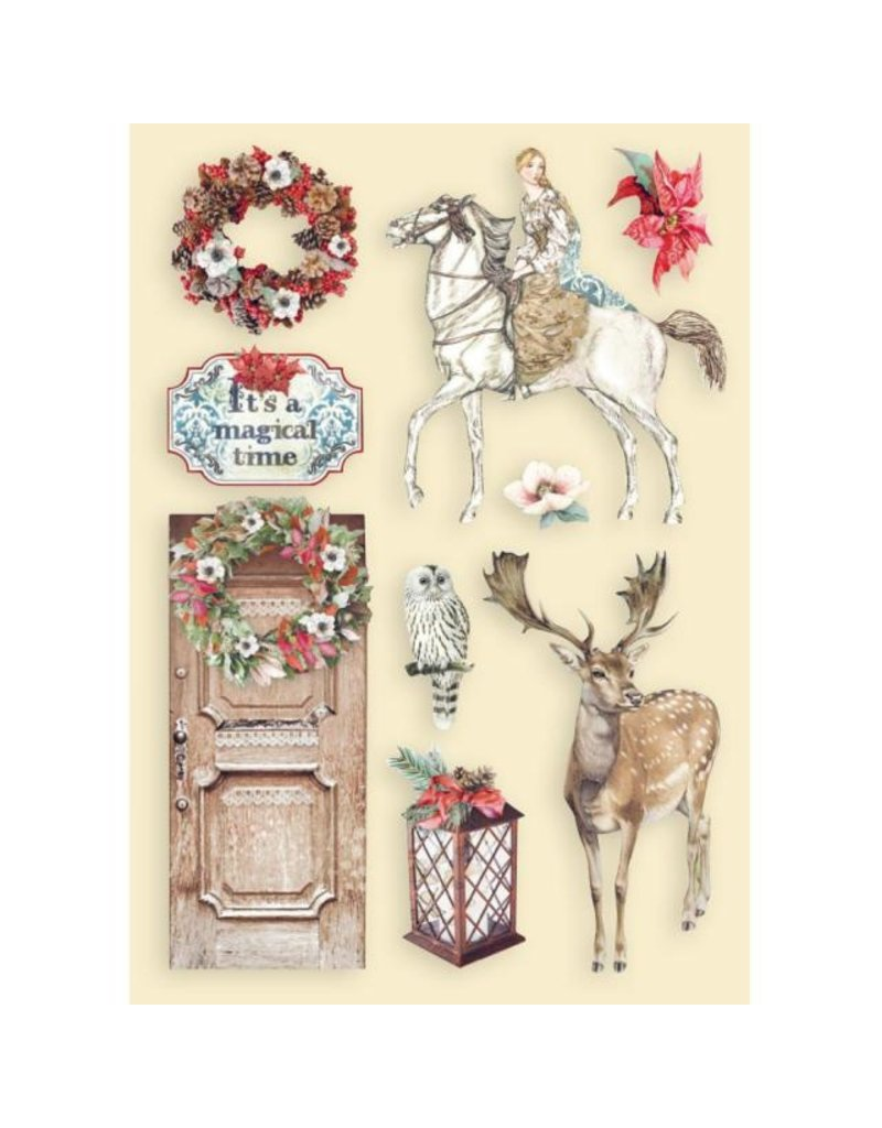 Stamperia Colored Wooden shape A5 - Winter Tales horse and deer