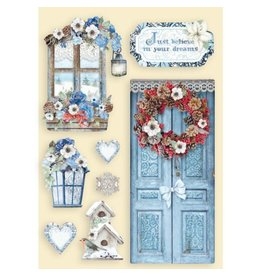 Stamperia Colored Wooden shape A5 - Winter Tales door and window