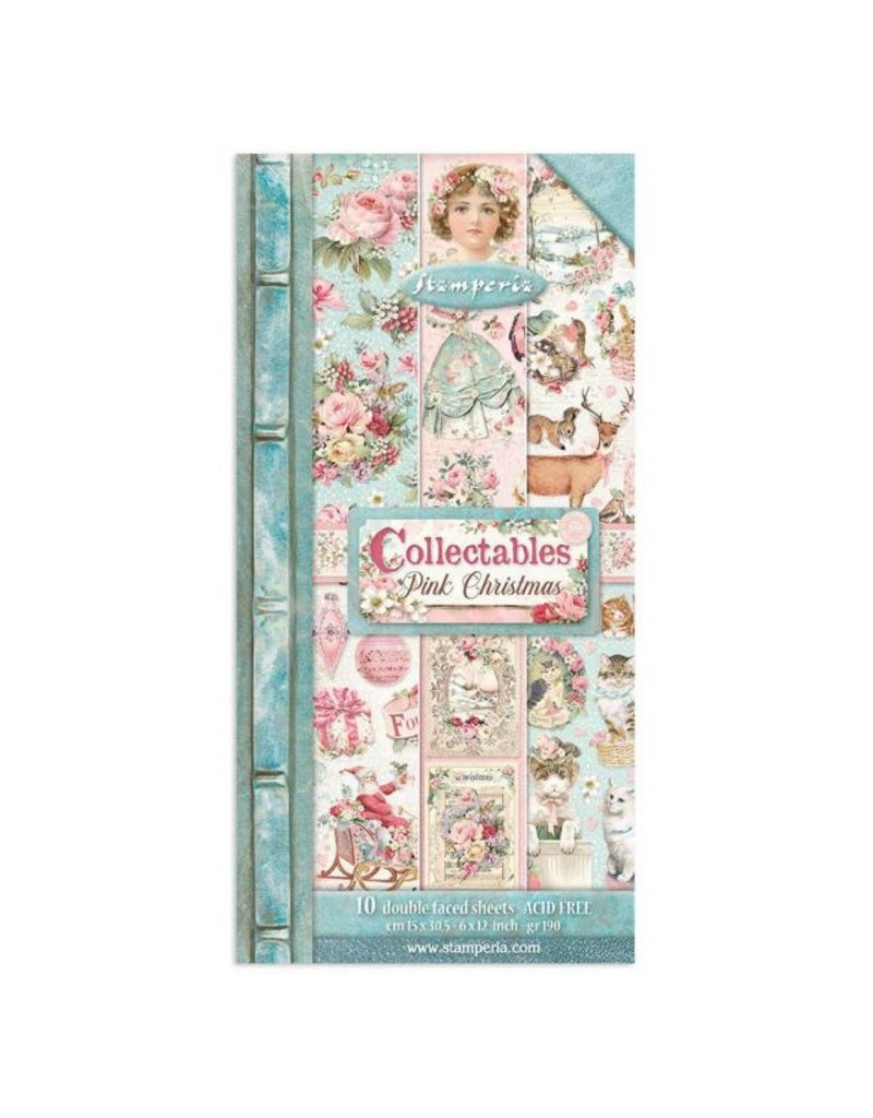 """Stamperia Collectables 10 sheets 15x30,5 (6""""x12"""") - Pink Christmas"""
