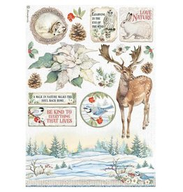 Stamperia A4 Rice paper packed - Winter Tales poinsettia