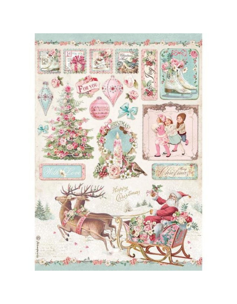 Stamperia A4 Rice paper packed - Pink Christmas sleigh