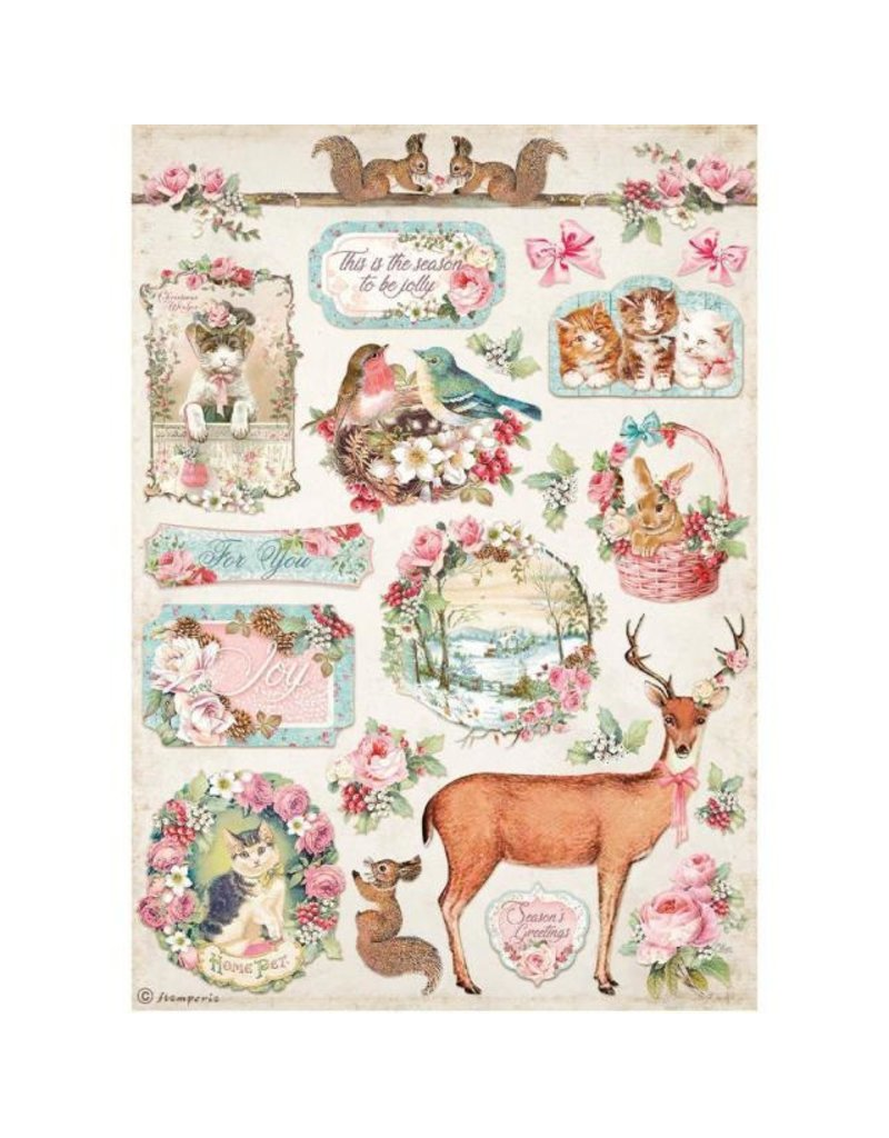 Stamperia A4 Rice paper packed - Pink Christmas deer