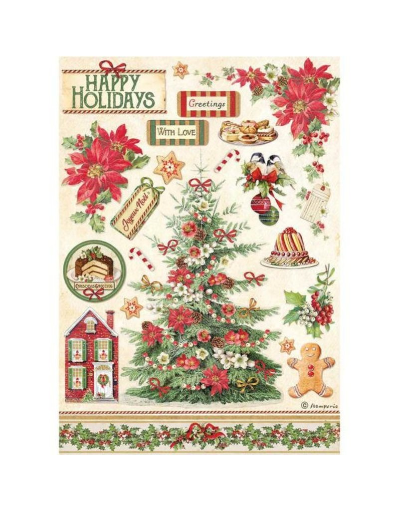 Stamperia A4 Rice paper packed - Classic Christmas tree