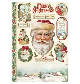 Stamperia A4 Rice paper packed - Classic Christmas Santa Claus