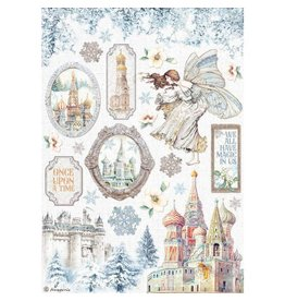 Stamperia A4 Rice paper packed - Winter Tales castle