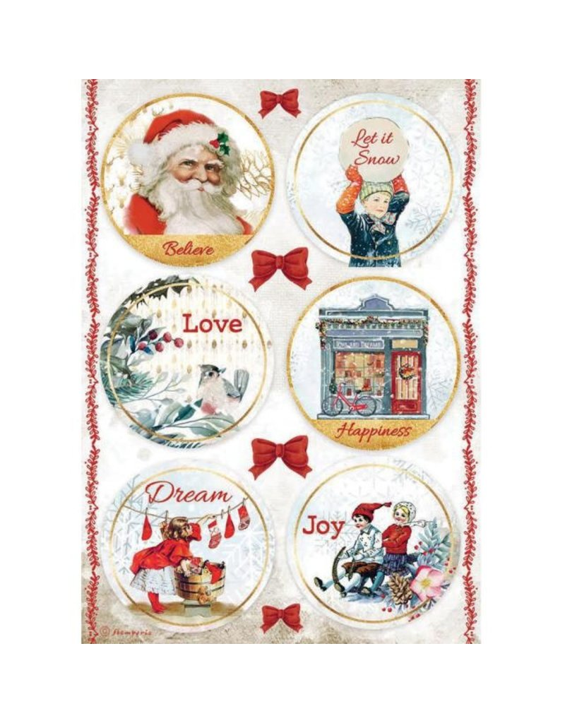 Stamperia A4 Rice paper packed - Romantic Christmas rounds