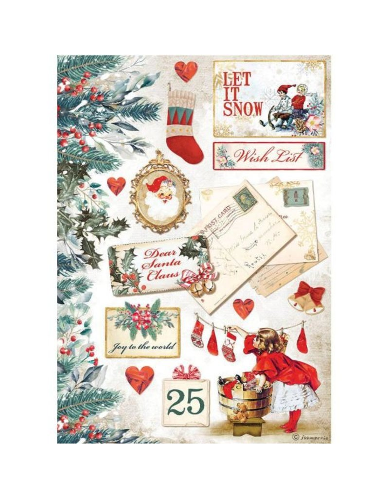 Stamperia A4 Rice paper packed - Romantic Christmas Let it snow cards