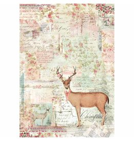 Stamperia A4 Rice Paper packed - Pink Christmas Reindeer