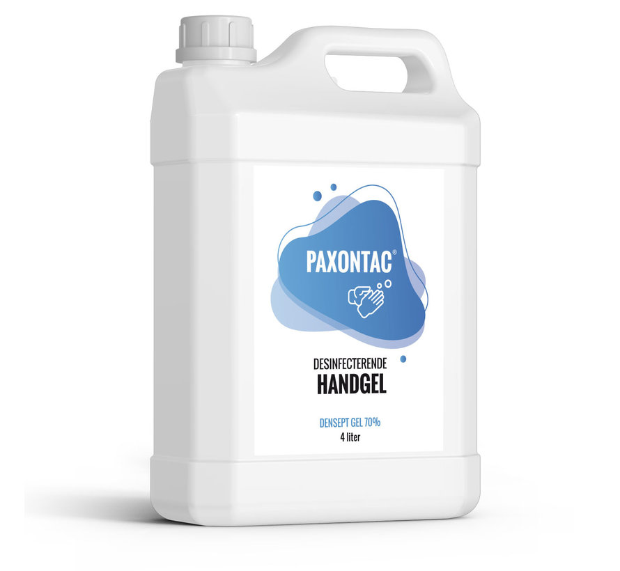Paxontac Desinfecterende Handgel | 4 liter Navulling | 70% Alcohol | Antibacterieel | Biocide Gecertificeerd | Droogt snel en plakt niet