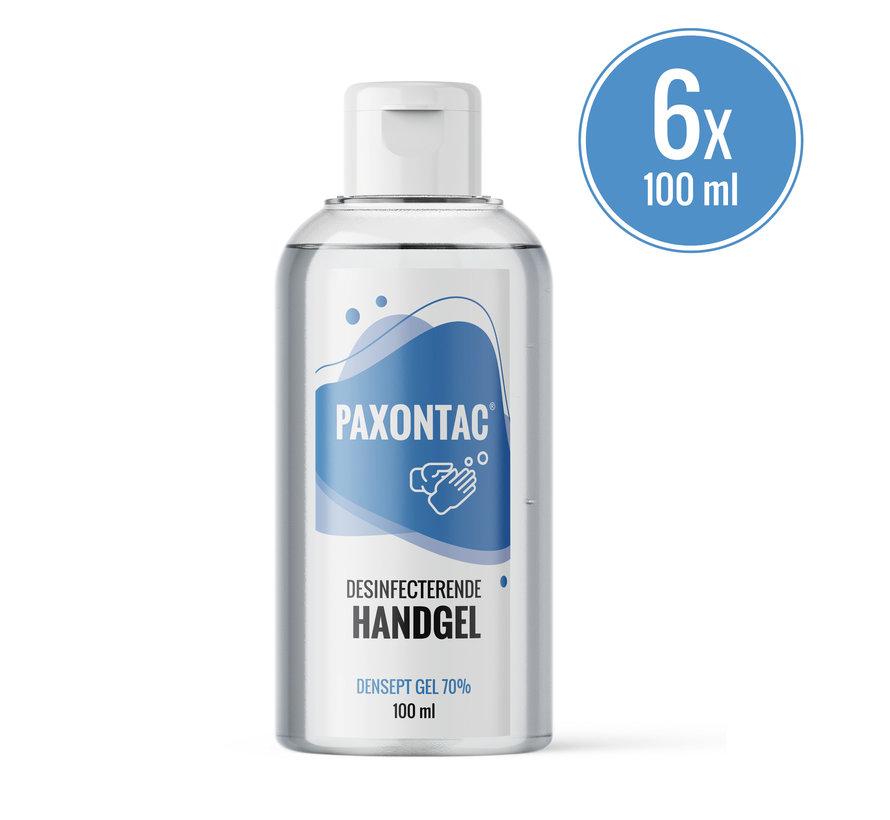 Paxontac Desinfecterende Handgel   100 ml 6x Alcoholgel   Handig Om Mee Te Nemen   70% Alcohol   Antibacterieel   Biocide Gecertificeerd    Droogt snel en plakt niet