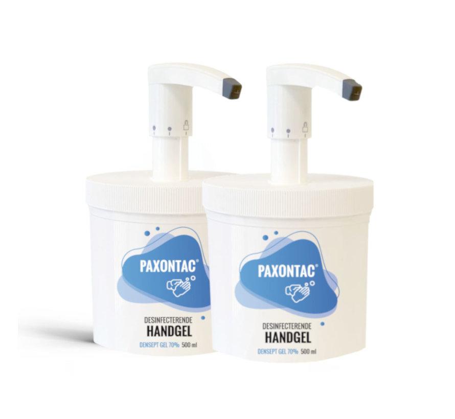 Paxontac Desinfecterende Handgel | 500 ml  2x Alcoholgel Met Hervulbare Pomp | 3 Standen | Beste pompsysteem op de markt | 3 ml Afgifte | 70% Alcohol | Antibacterieel | Biocide Gecertificeerd | Droogt snel en plakt niet