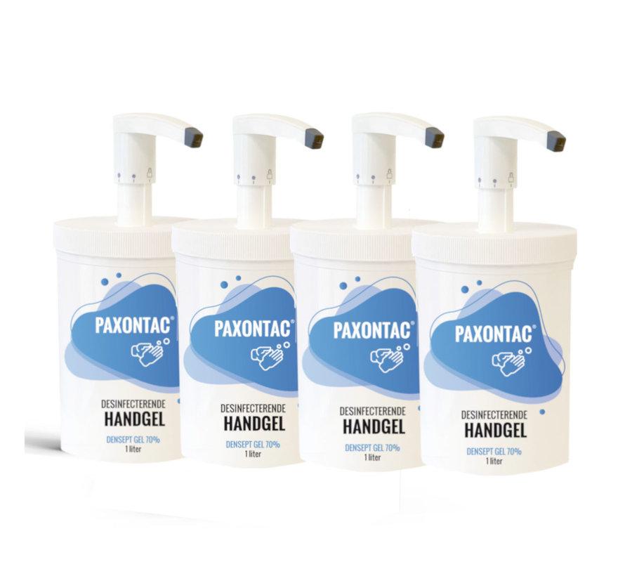 Paxontac Desinfecterende Handgel   1000 ml  4x Alcoholgel Met Hervulbare Pomp   3 Standen   Beste pompsysteem op de markt   3 ml Afgifte   70% Alcohol   Antibacterieel   Biocide Gecertificeerd   Droogt snel en plakt niet