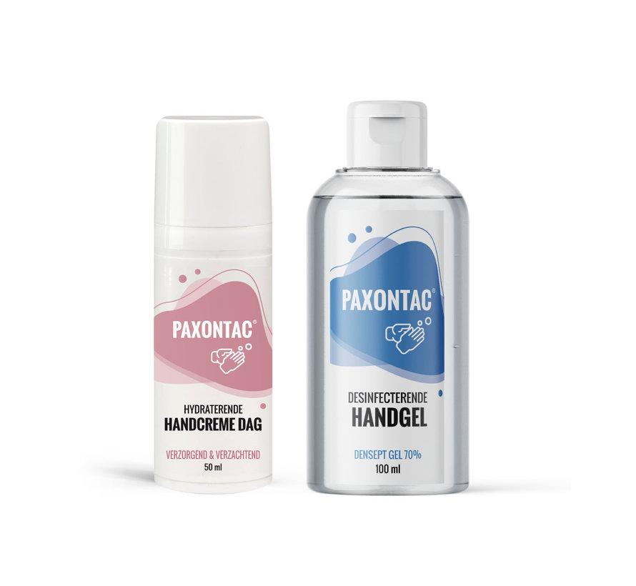 Paxontac Desinfecterende Handgel 100 ml + Hydraterende Handcrème Dag 50 ml