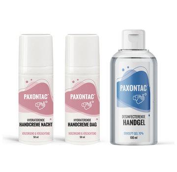 Paxontac Desinfecterende Handgel + Hydraterende Handcrèmes Dag & Nacht | Paxontac