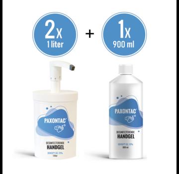 Paxontac Desinfecterende Handgel - 1000 ml 2x met Hervulbare Pomp + 900 ml Navulling | Paxontac