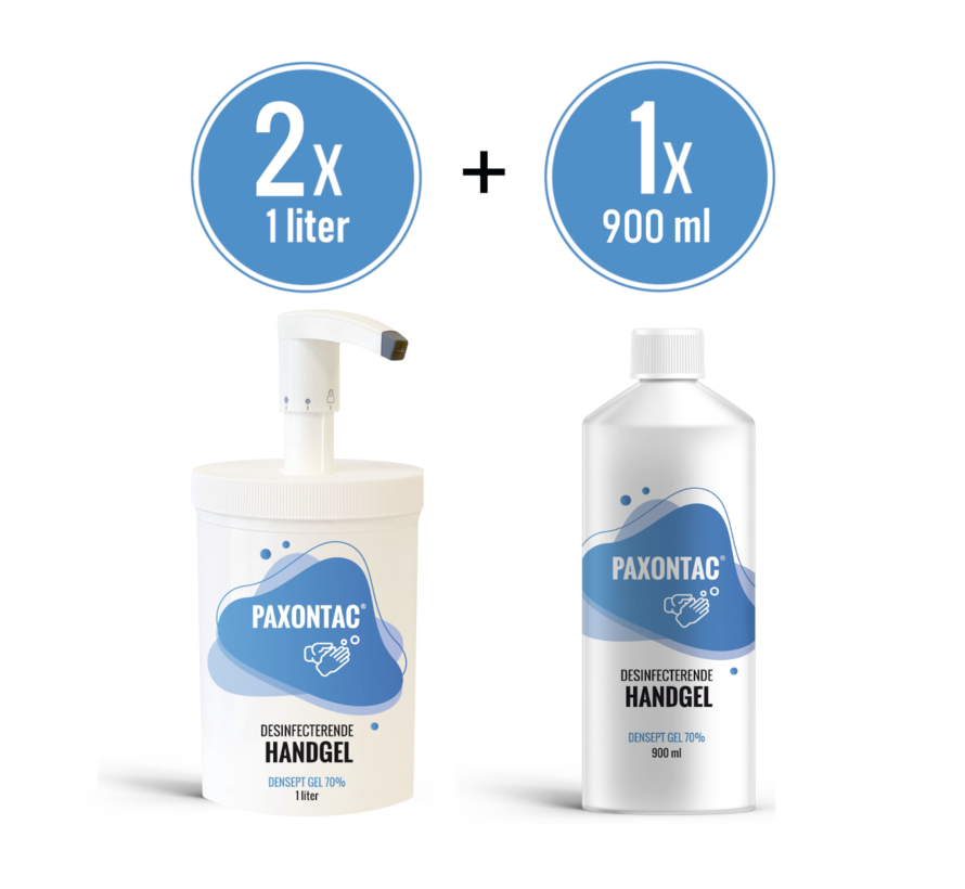 Paxontac Desinfecterende Handgel   1000 ml 2x met Hervulbare Pomp + 900 ml Navulling   70% Alcohol   Antibacterieel   Biocide Gecertificeerd   Droogt snel en plakt niet