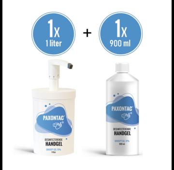 Paxontac Desinfecterende Handgel - 1000 ml met Hervulbare Pomp + 900 ml Navulling | Paxontac