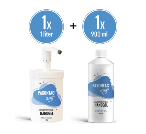 Paxontac Paxontac Desinfecterende handgel   1000 ml met Hervulbare Pomp + 900 ml Navulling   70% Alcohol   Antibacterieel   Biocide Gecertificeerd   Droogt snel en plakt niet