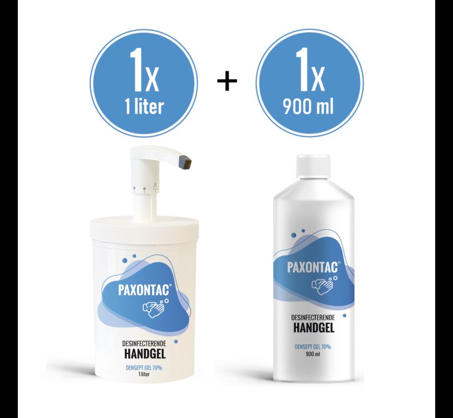 Paxontac Desinfecterende handgel   1000 ml met Hervulbare Pomp + 900 ml Navulling   70% Alcohol   Antibacterieel   Biocide Gecertificeerd   Droogt snel en plakt niet