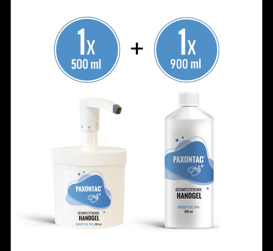 Paxontac Desinfecterende Handgel | 500 ml met Hervulbare Pomp + 900 ml Navulling l | 70% Alcohol | Antibacterieel | Biocide Gecertificeerd | Droogt snel en plakt niet
