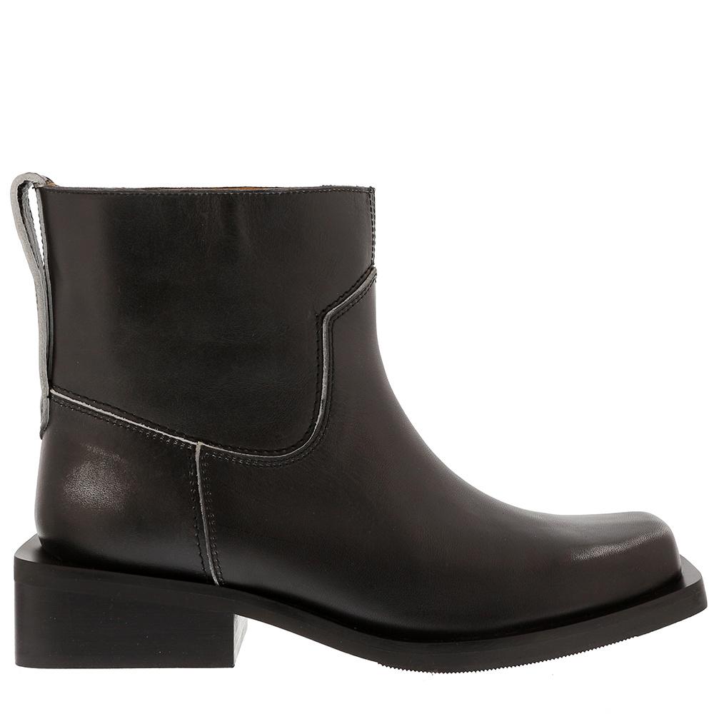 Ganni enkellaarsjes S1033 zwart