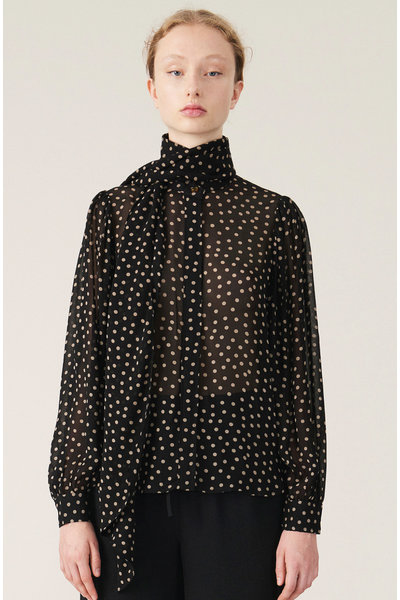 Ganni Ganni blouse F4360 zwart