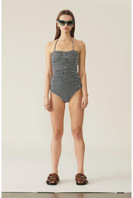 Ganni badpak Seersucker Swimsuit zwart/wit