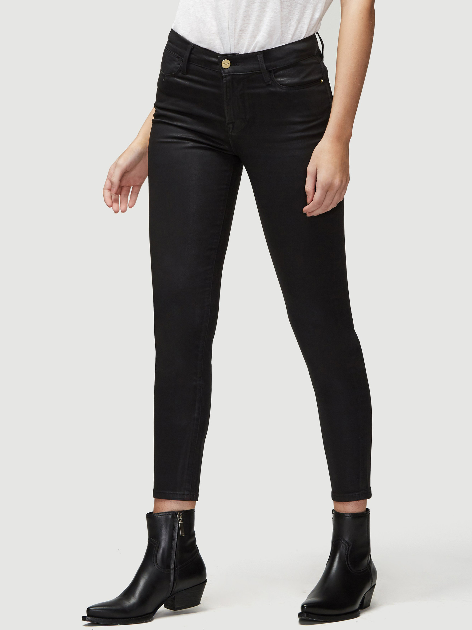 FRAME jeans Le High Skinny Coated zwart