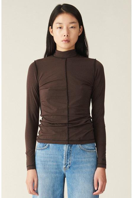 Ganni t-shirt T2463 bruin