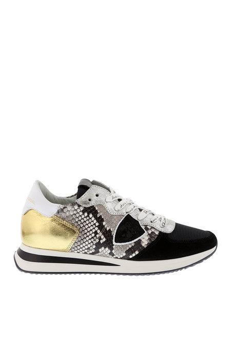 Philippe Model sneakers Tropez python beige-zwart