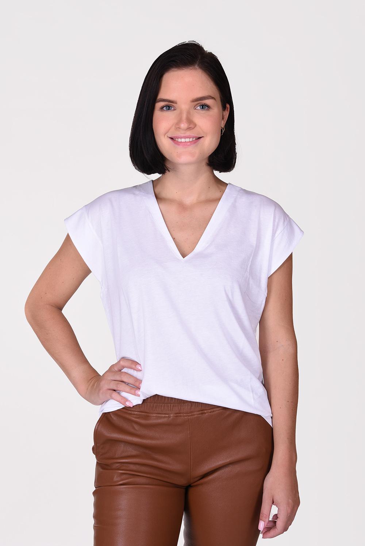 Frame t-shirt Le Mid Rise V wit