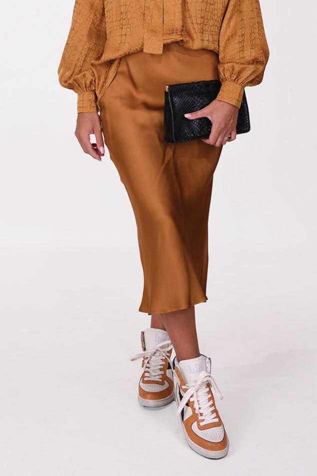 Anine Bing rok Bar Silk Skirt A-04-4001-250 cognac