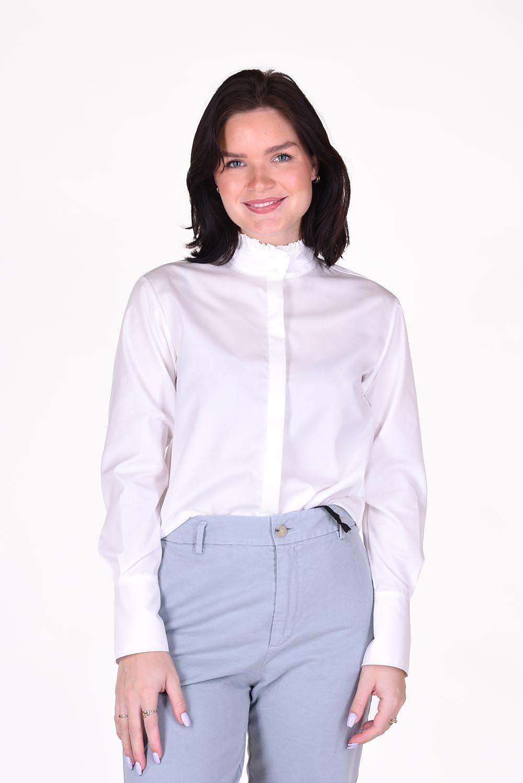 FRAME blouse Ruffle Neck LWSH1897 wit